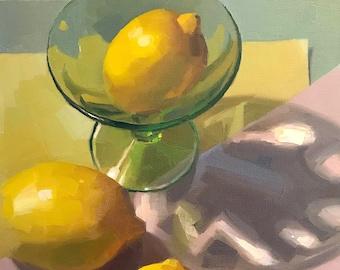 "Fine Art painting still life ""Lemon Light"" 10x10"" original oil on canvas by Sarah Sedwick"