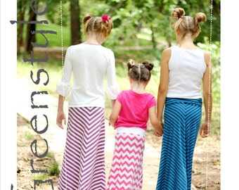 Greenstyle Girl's Amy Maxi Skirt with Chevron Option Easy PDF Sewing Pattern sizes 2 years - 16 years