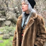 60s Vintage Faux Fur Coat- Light Tan Fur Jacket