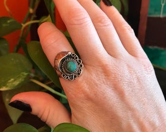 Turquoise Ring- Sterling Silver- Native American- 1970s Jewelry- Vintage RIng Size 6.45- Gifts Under 50- Gifts for Women- Mothers Day Gift