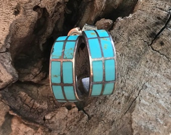 Vintage Zuni Inlay Earrings- Signed Native American Southwestern Jewelry- 925 Sterling Silver Hoops- Sleeping Beauty Turquoise- Small Gifts