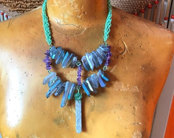 Blue Crystal Necklace - Titanium Quartz Jewelry - Amethyst - Repurposed Jewelry - Statement Necklace - Burning Man - Festival Outfit