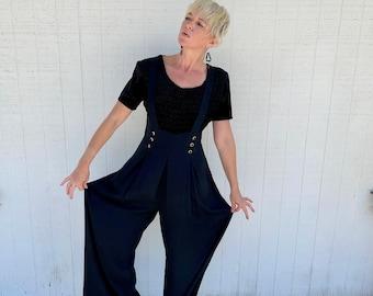 Vintage 90s Black Wide Leg Jumpsuit Overalls 1990s Clothing Palazzo Pants