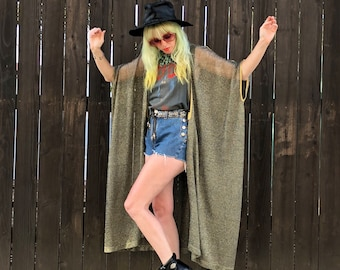 Metallic Kimono Robe- Gold Kimono Jacket- Burning Man Outfit- Festival Clothes- Boho Festival Clothing- Long Sheer Jacket- One Size