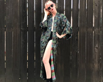 Vintage Kimono Jacket- Kimono Robe- Festival Jacket- Festival Clothing- 70s Hippie Boho- Bohemian Luxe Maxi Dress- XS SMALL