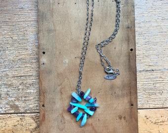 Circle Necklace- Amazonite Amethyst- Stone Pendant- Minimalist Jewelry- Circle Pendant- Handmade Gift- Circle of Love- Blue and Purple