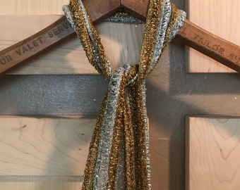 Metallic Scarf- Silver and Gold- Vintage Scarves for Women- Hair Accessories- Festival Wear- Burning Man Costumes- Hippie Clothes- Glam Rock