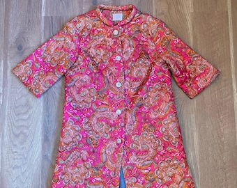 Cottagecore Paisley Quilted Jacket 1960s Quilt House Coat 60s
