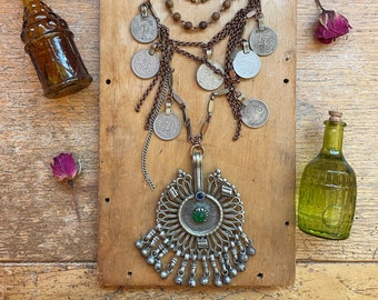 Large Tribal Pendant Necklace Handmade Vintage Jewelry Coins Sustainable Gifts