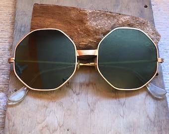 ae0e3949159 60s Sunglasses- Metal Frame Glasses- Green Lens Sunglasses