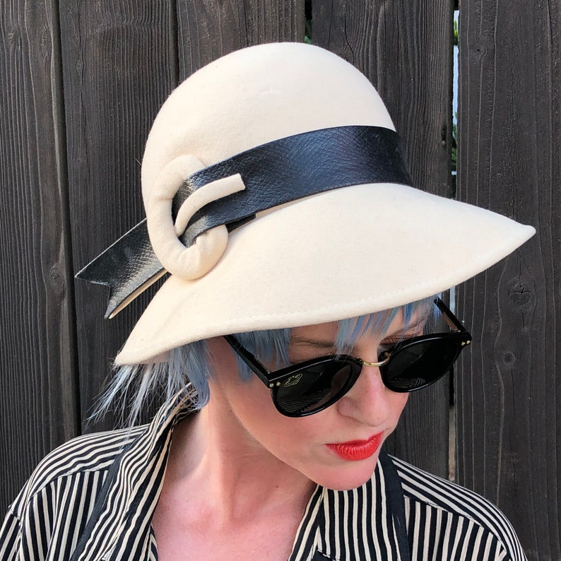 Vintage White Hat Womens Fedora 60s Mod Party image 0