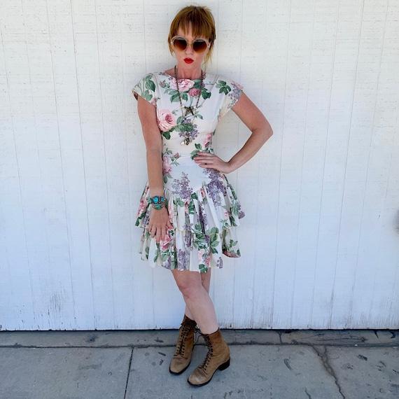 Vintage Cottagecore Mini Dress Grunge Fairycore C… - image 1
