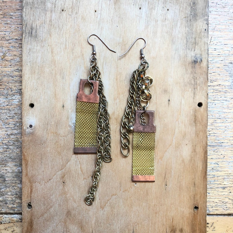 Chunky Dangle Earrings Sustainable Jewelry One of a Kind image 0