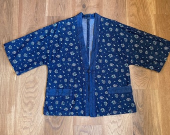 Vintage Denim Kimono Jacket Floral Print Coat Cottagecore Clothing Prairie Style Farmhouse Clothes