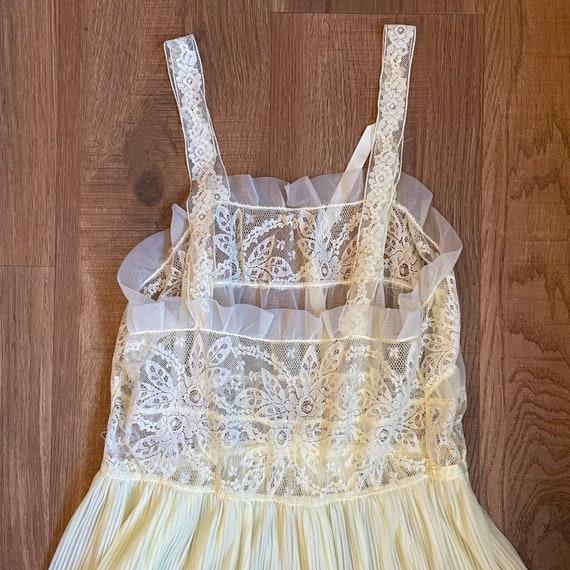 Vintage Pale Yellow Lace Slip Dress Whimsical Fai… - image 5