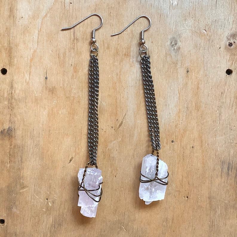 Kunzite Crystal Earrings Metaphysical Jewelry Spiritual image 0