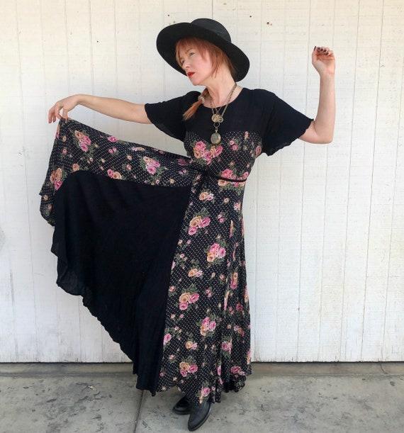 Vintage 90s Floral Maxi Dress 1990s Grunge Clothin
