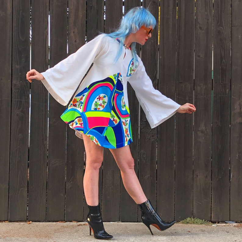 60s Bell Sleeve Mini Dress Psychedelic Clothing Hippie image 0