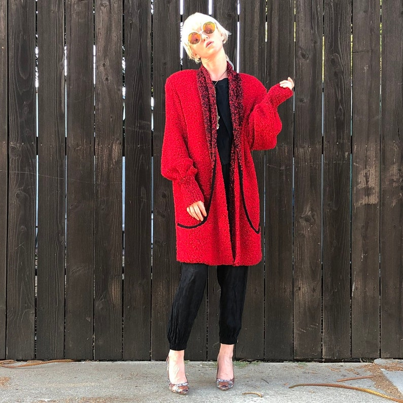 80s Long Red Cardigan Vintage Sweater Coat 1980s Oversized image 0