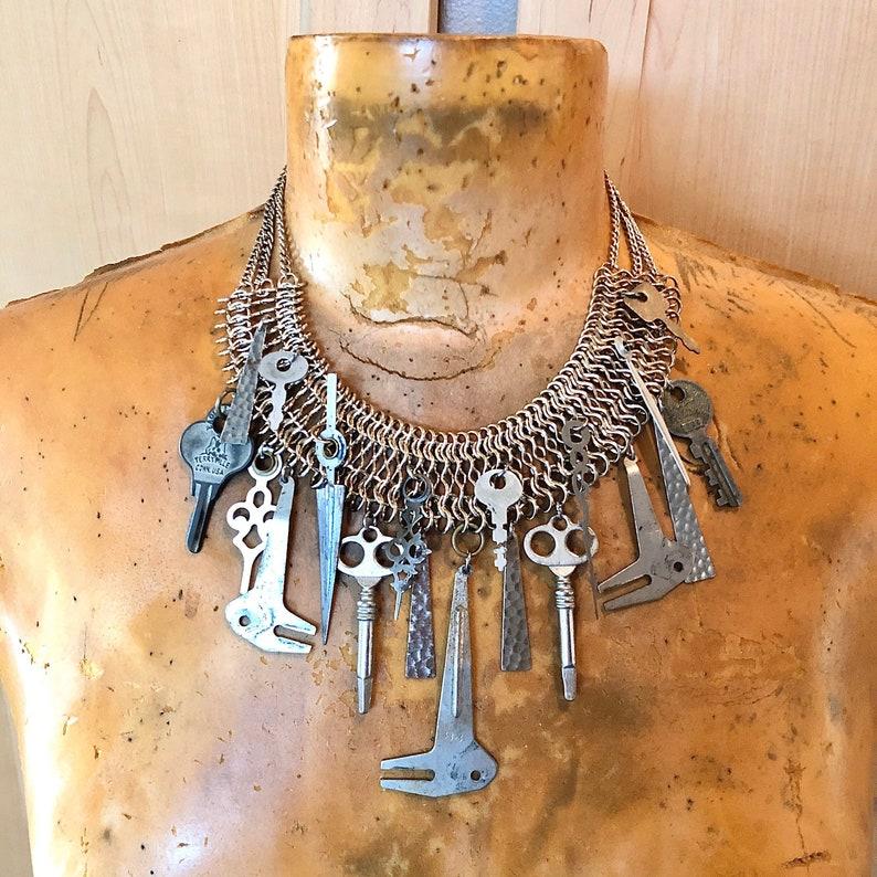 Vintage Key Necklace Sustainable Statement Jewelry Handmade image 0