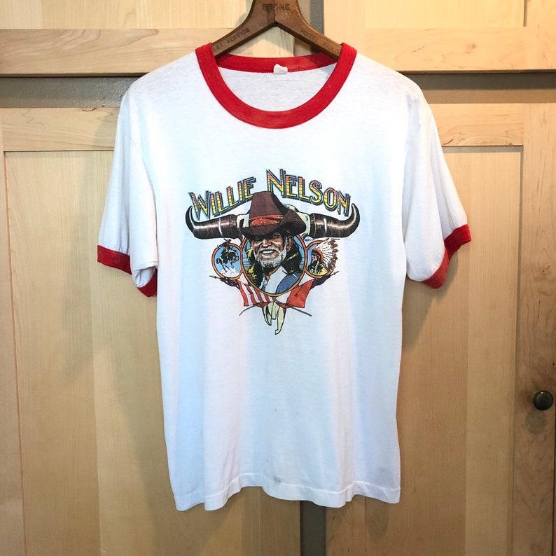 Vintage 1986 Willie Nelson Shirt Wranglers Ringer Tee image 0