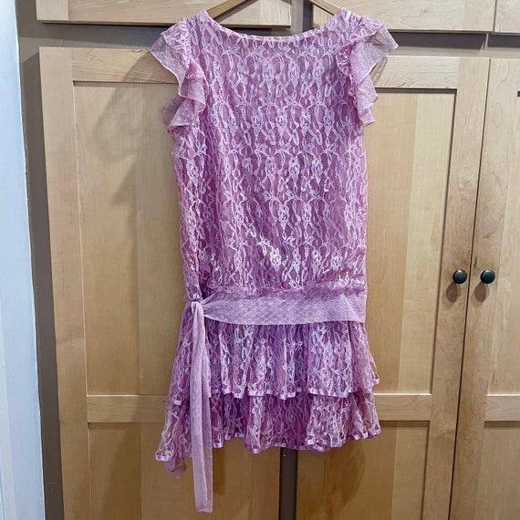 Vintage Pink Lace Dress Fairycore Clothing 1980s … - image 2