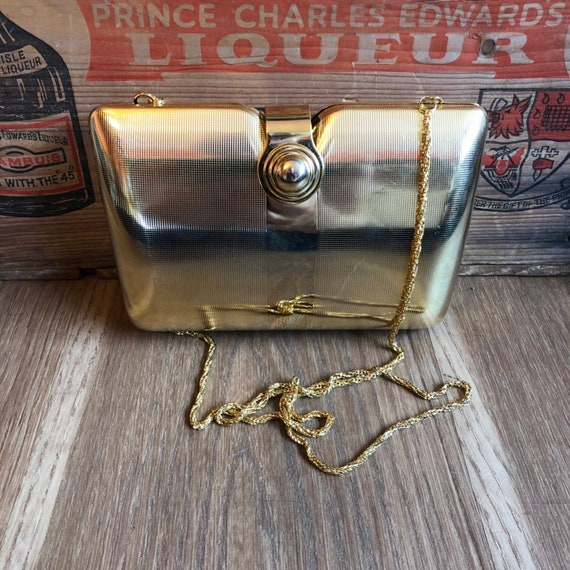 Gold Evening Bag- 80s Purse- 1980s Party