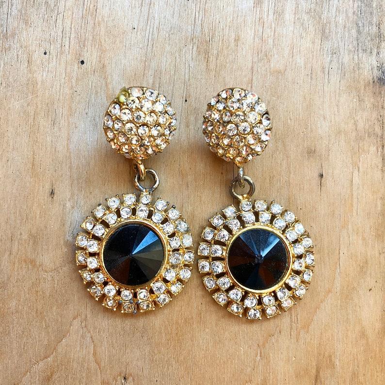 Large Rhinestone Clip On Earrings Hollywood Regency 80s image 0