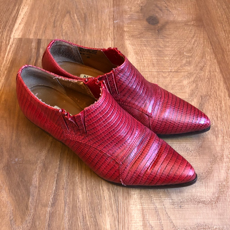 Red Ankle Boots Western Booties US Womens Size 6 Shoes image 0