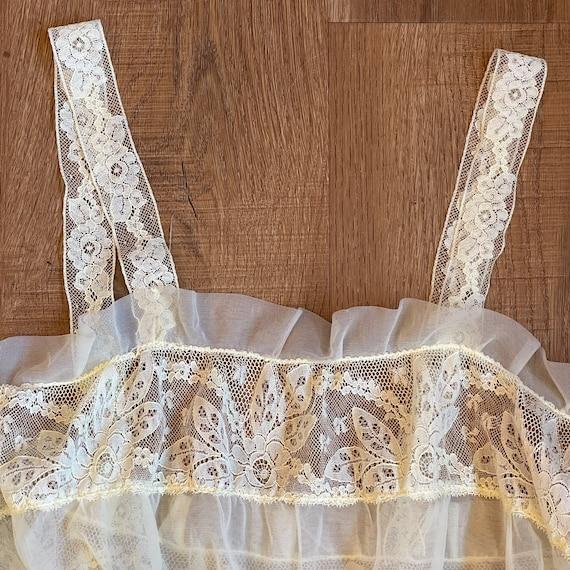 Vintage Pale Yellow Lace Slip Dress Whimsical Fai… - image 6