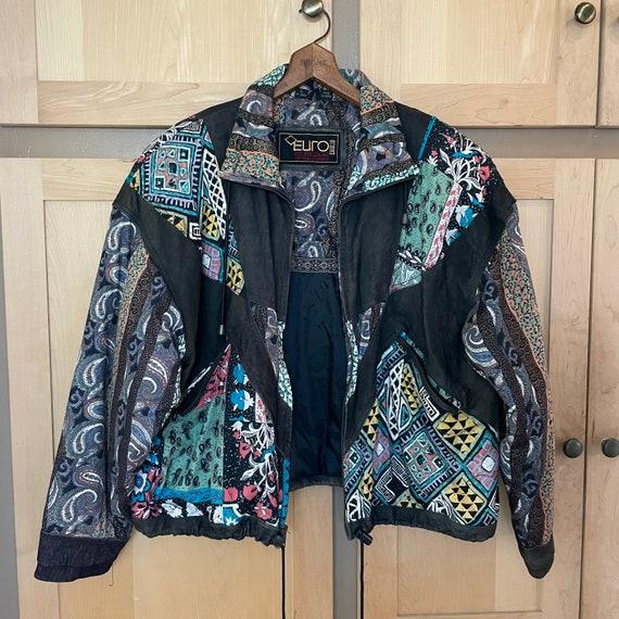 Vintage 1980s Oversized Bomber Jacket Patchwork Co