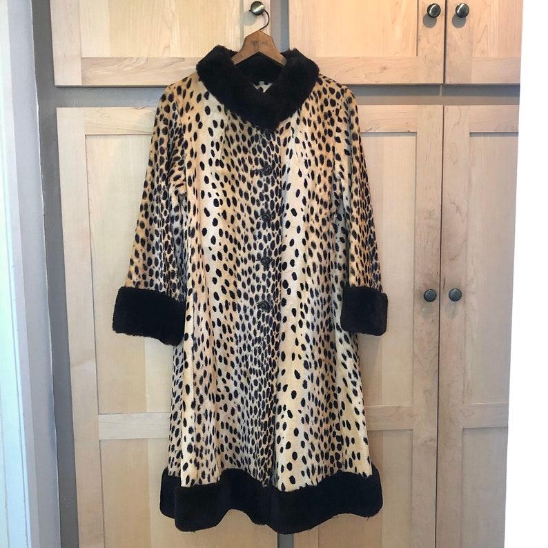 Vintage Leopard Coat 1960s Faux Fur Jacket XS SMALL image 0
