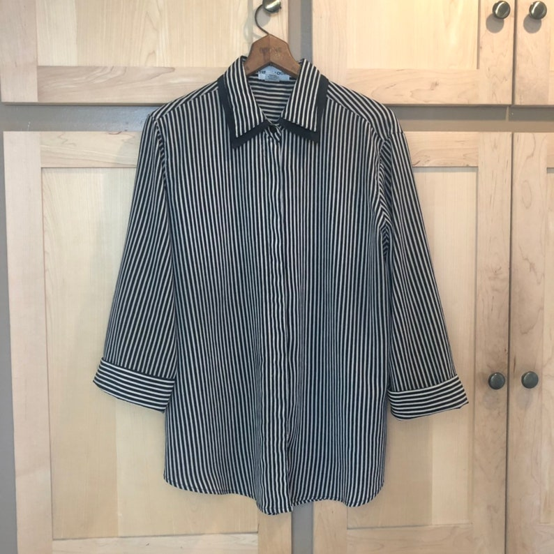 Vintage Striped Shirt 90s Blouse 1990s Clothing image 0