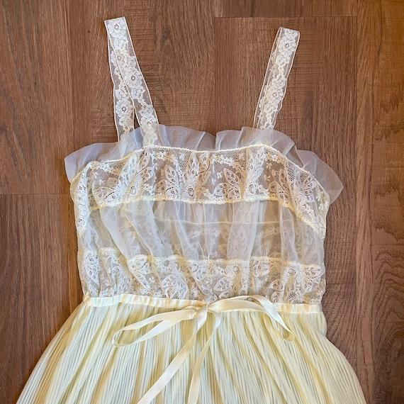 Vintage Pale Yellow Lace Slip Dress Whimsical Fai… - image 3