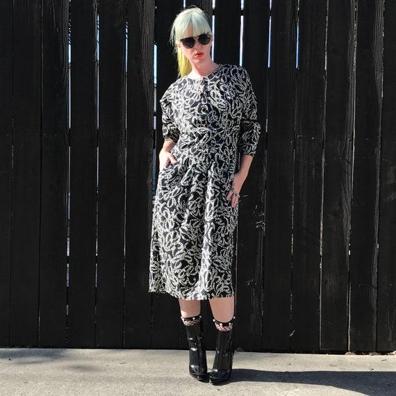 Vintage 90s Midi Dress 1990s Clothing