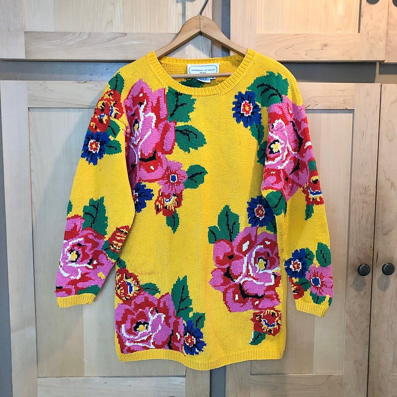 Vintage 80s Bright Floral Sweater 1980s Clothing image 0