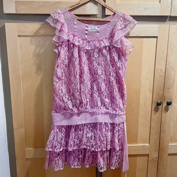 Vintage Pink Lace Dress Fairycore Clothing 1980s … - image 1