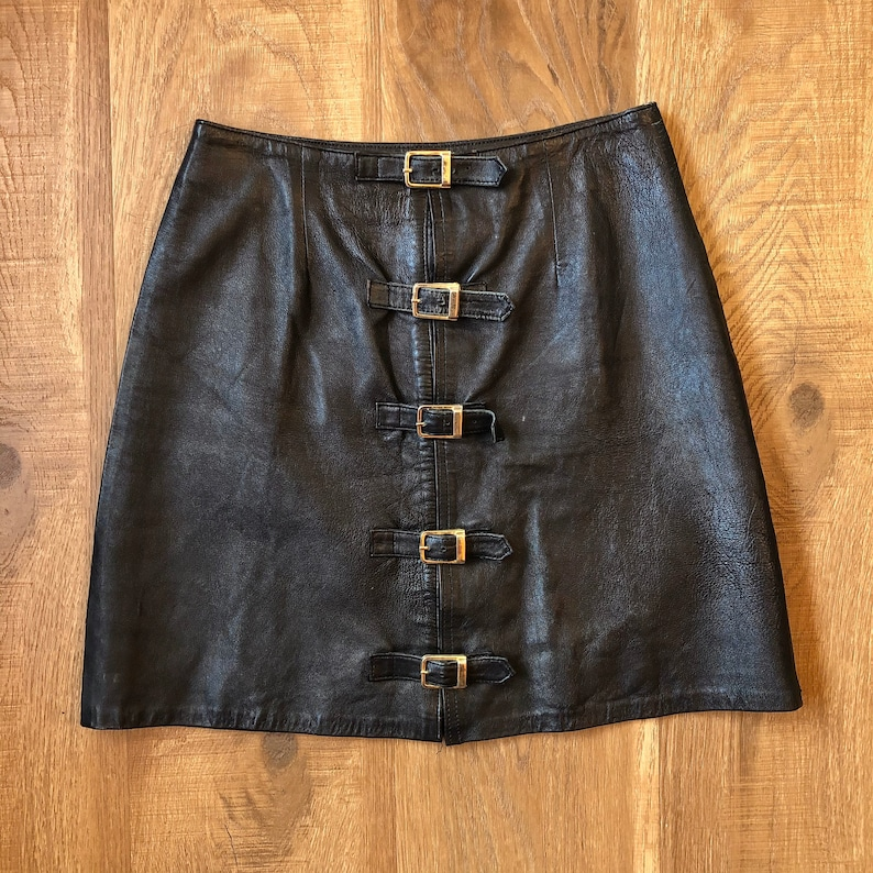 Vintage Black Leather Mini Skirt with Buckles 80s Party XS image 0