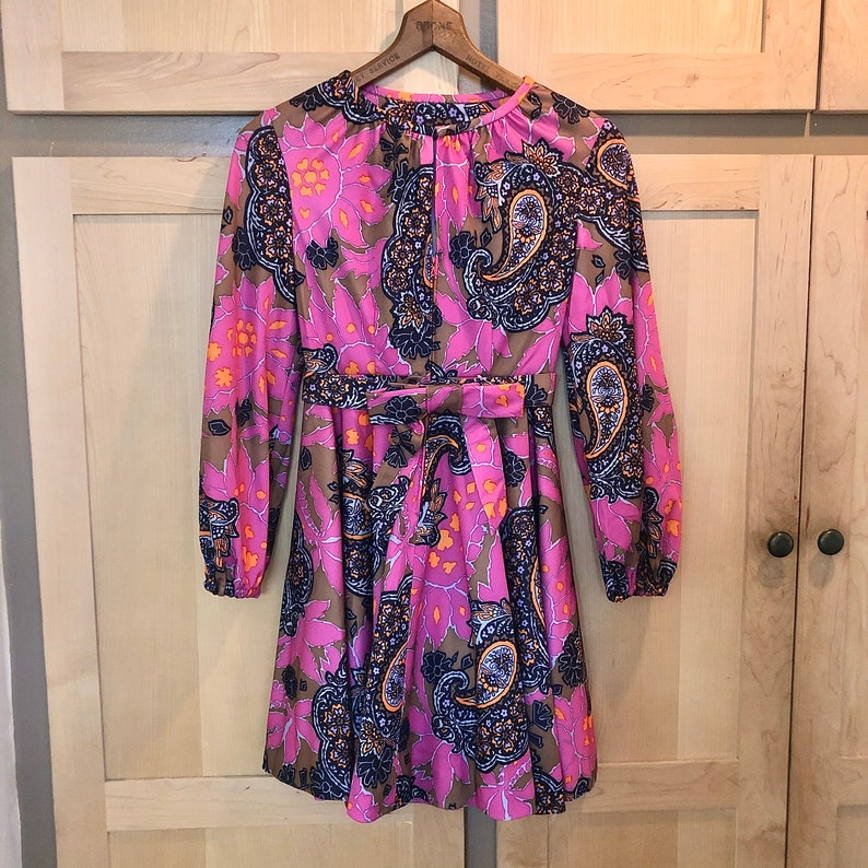60s Mini Dress Hippie Clothing Psychedelic Clothes XS image 0