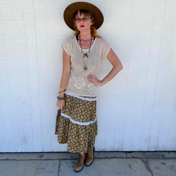 Vintage Prairie Skirt Cottagecore Clothing 70s Hi… - image 2