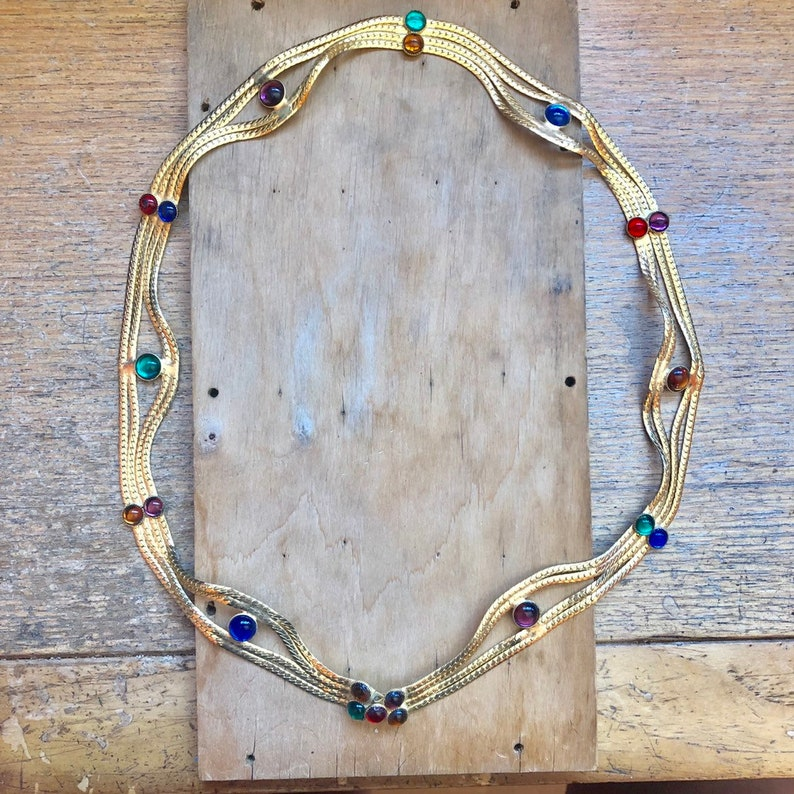Vintage Gold Bejeweled Belt 90s Accessories image 0