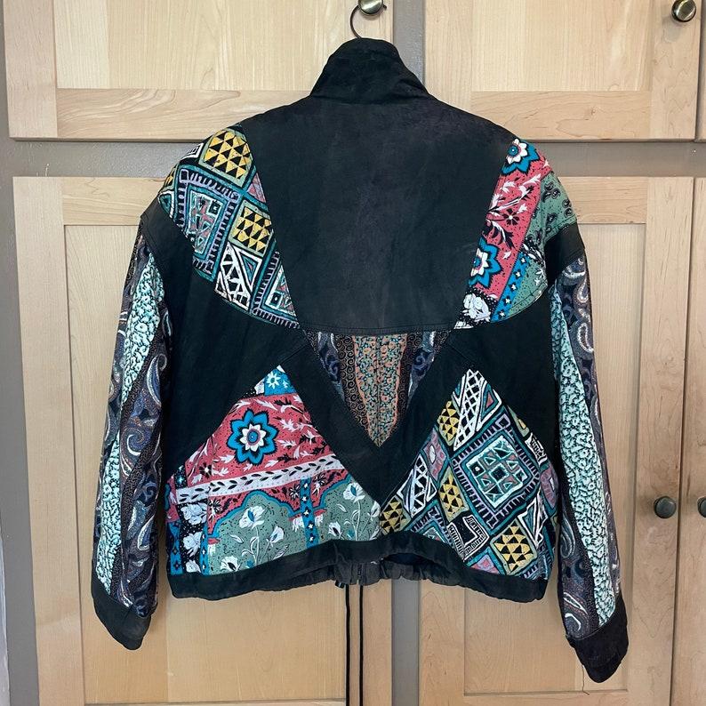 Vintage 1980s Oversized Bomber Jacket Patchwork Coat Puffy Leather Jacket 80s Clothing