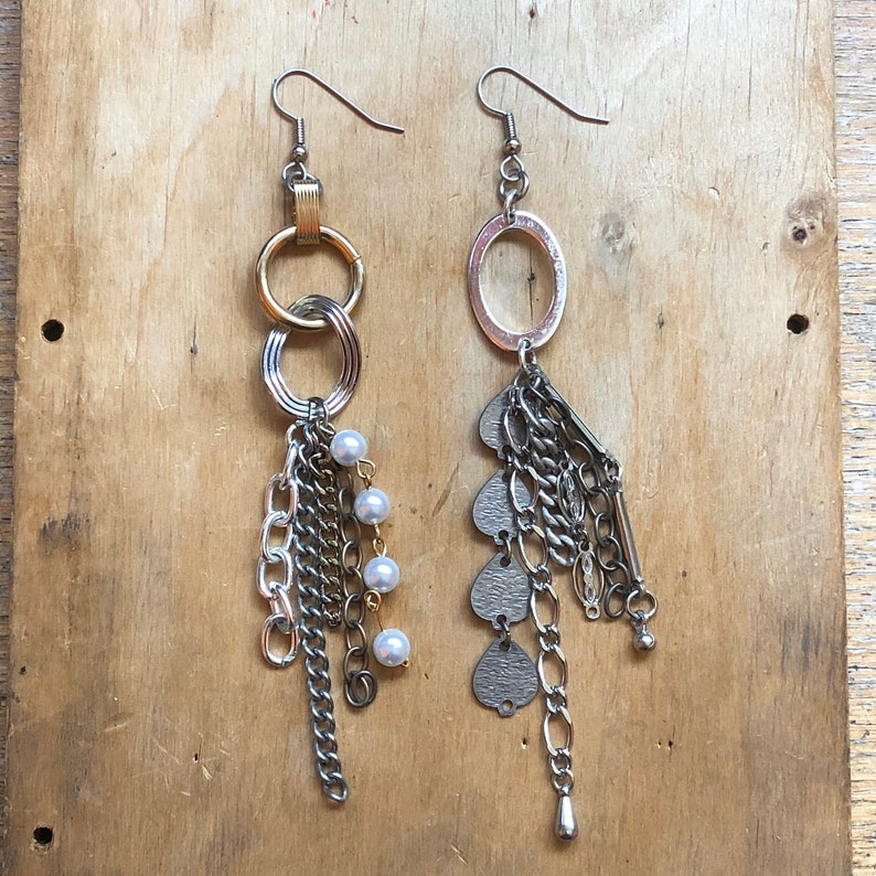 Mismatched Chain Earrings Bold Jewelry LoveItShop Unique image 0
