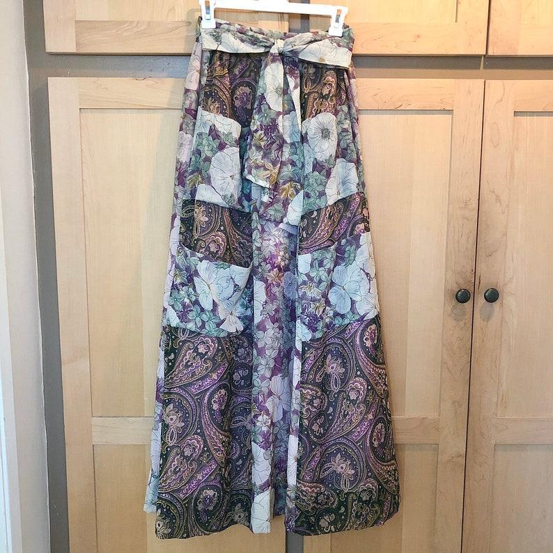 Prairie Skirt Floral Maxi Vintage Folk Clothing XS SMALL image 0