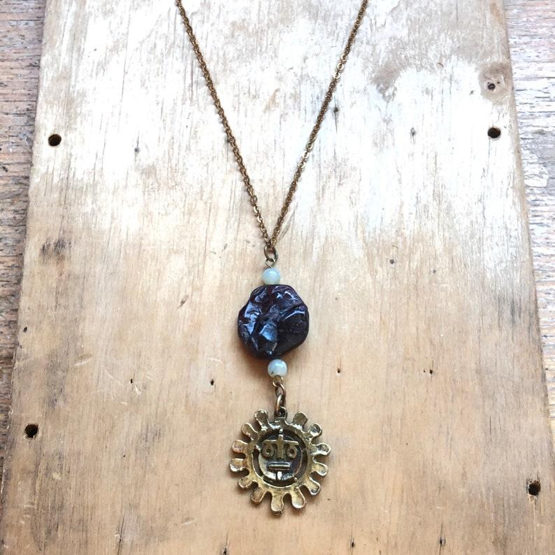 Celestial Necklace Raw Garnet Jewelry Gemstone Gifts image 0