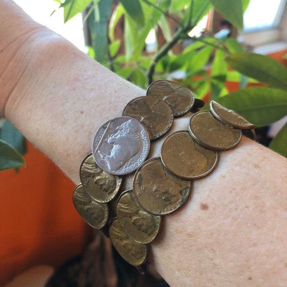 Coin Cuff Bracelet USA Boho Cuff Repurposed One Cent Coins