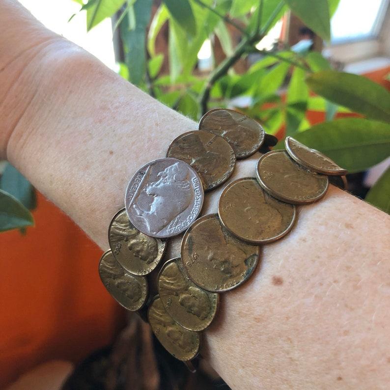Set of Stackable Penny Bracelets 1960s Jewelry Boho Gifts image 0