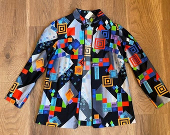 1970s Abstract Shirt Jacket Festival Clothing Colorful Clothes 70s Fashion