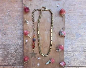 Handmade Carnelian Choker Necklace Gold Star Celestial Jewelry