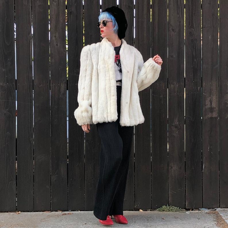 White Faux Fur Coat 80s Jacket Glam Clothing image 0